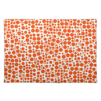 Orange Polka Dots on White Background Cloth Placemat