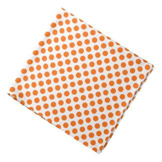 Orange Polka Dots on White Bandana