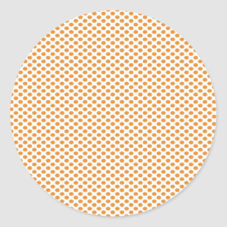 Orange Polka Dots on White Classic Round Sticker
