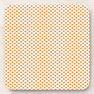 Orange Polka Dots on White Drink Coaster