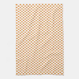 Orange Polka Dots on White Hand Towels