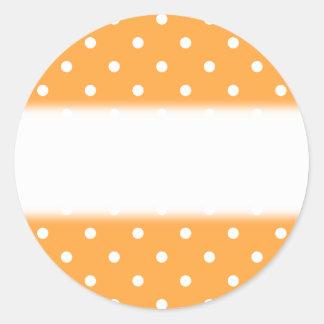Orange Polka Dots Pattern. Classic Round Sticker