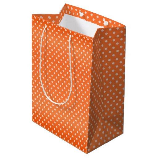 Orange Polka Dots Pattern Medium Gift Bag
