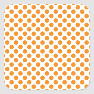 Orange Polka Dots Square Sticker