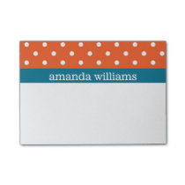 Orange Polka Dots with Blue Stripe Post-it Notes