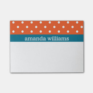 Orange Polka Dots with Blue Stripe Post-it® Notes