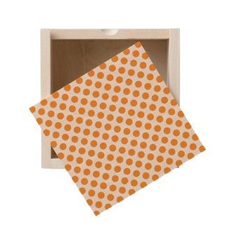 Orange Polka Dots Wooden Keepsake Box