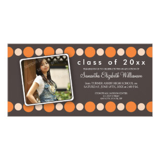 Orange Polkadots Custom Graduation Announcement Photo Card