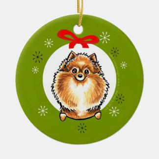 Orange Pomeranian Christmas Classic Ceramic Ornament