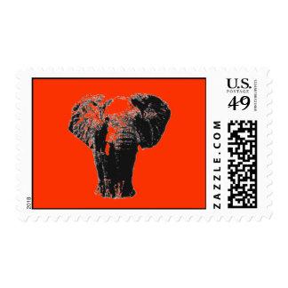 Orange Pop Art Elephant Postage Stamp