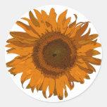 Orange Pop Art Flower Stickers