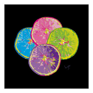 Orange Pop Art Fruit Slices Cool Poster