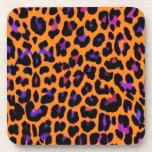 Orange Pop Leopard Drink Coasters