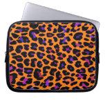 Orange Pop Leopard Print Laptop Sleeves