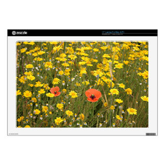 Orange poppies and yellow daisies decal for laptop