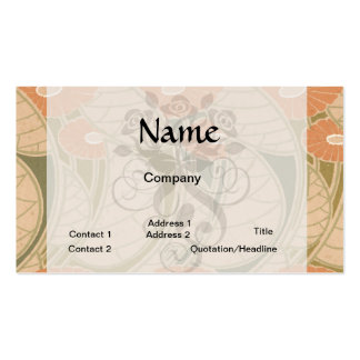 orange poppies art noueveau style Double-Sided standard business cards (Pack of 100)