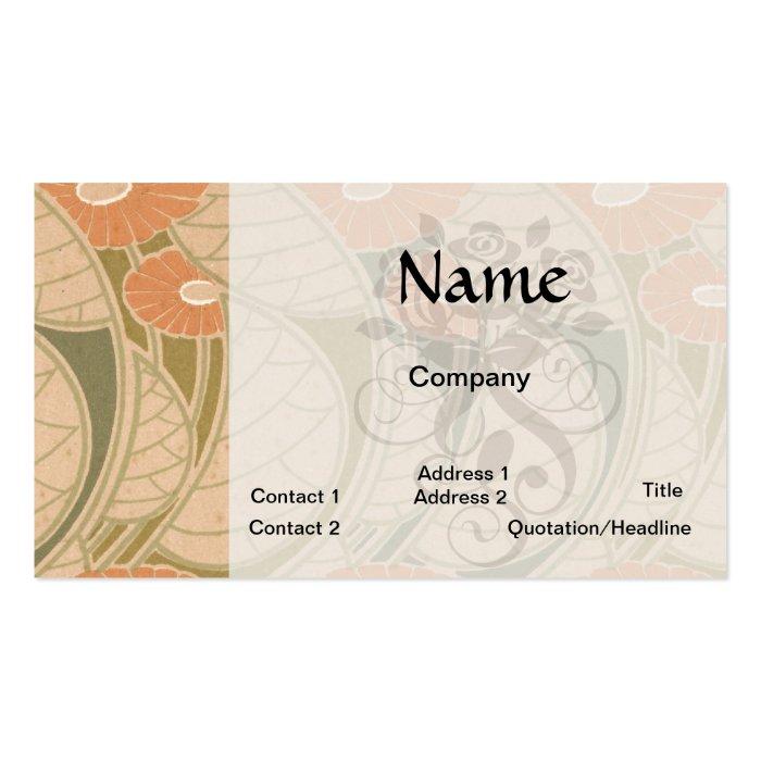 orange poppies art noueveau style business card