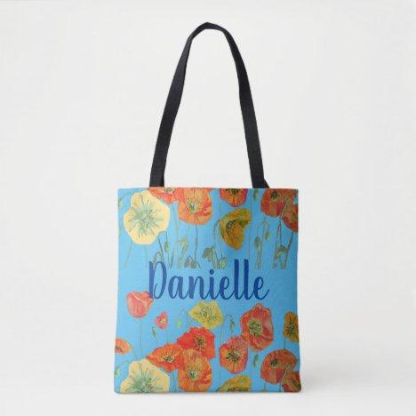 Orange Poppies blue Floral flowers Girl Name Bag