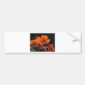 Orange Poppies Bumper Sticker