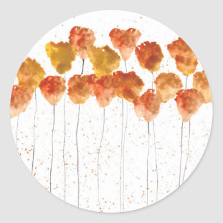 Orange poppies flowers classic round sticker