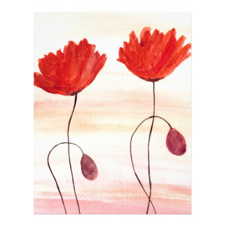 Orange poppies flowers watercolour painting letterhead