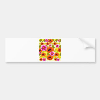 ORANGE POPPIES FUCHSIA DAHLIAS IRIS FLOWERS ART BUMPER STICKER
