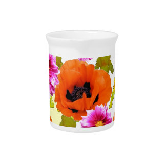 ORANGE POPPIES FUCHSIA DAHLIAS IRIS FLOWERS ART DRINK PITCHER