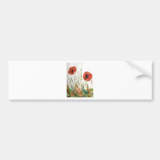Orange Poppies in the grass Bumper Sticker