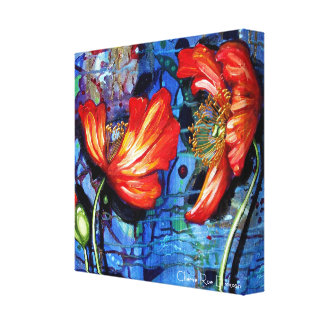 Orange Poppies on Blue Abstract Background Canvas Print