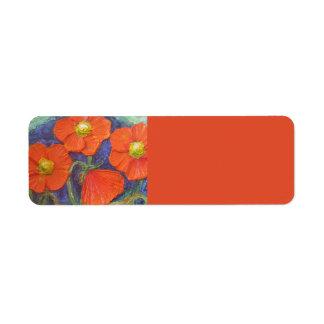 Orange Poppies Return address Label