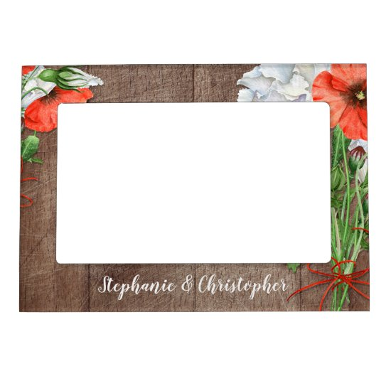 Orange Poppies Rustic Flower Wedding Magnetic Photo Frame