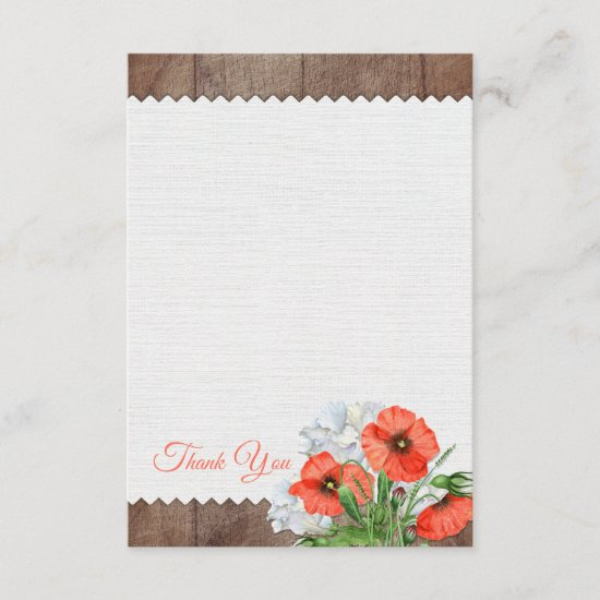 Orange Poppies Rustic Wood Wedding Thank You Card