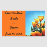 Orange Poppies Save The Date Rectangle Sticker