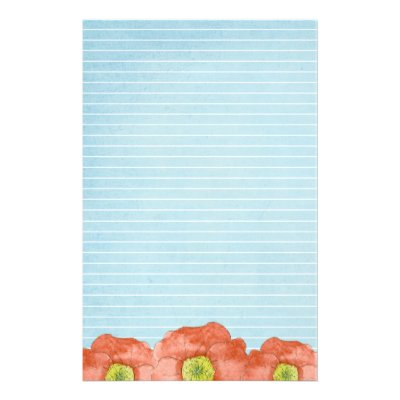 Writing PAPER Poppy | Zazzle.com  Lined Letter Writing Paper