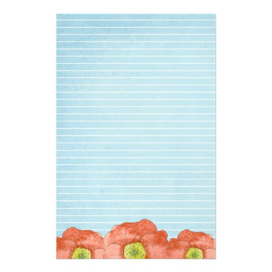 Orange Poppies Watercolor Lined Letter Writing Stationery | Zazzle.com