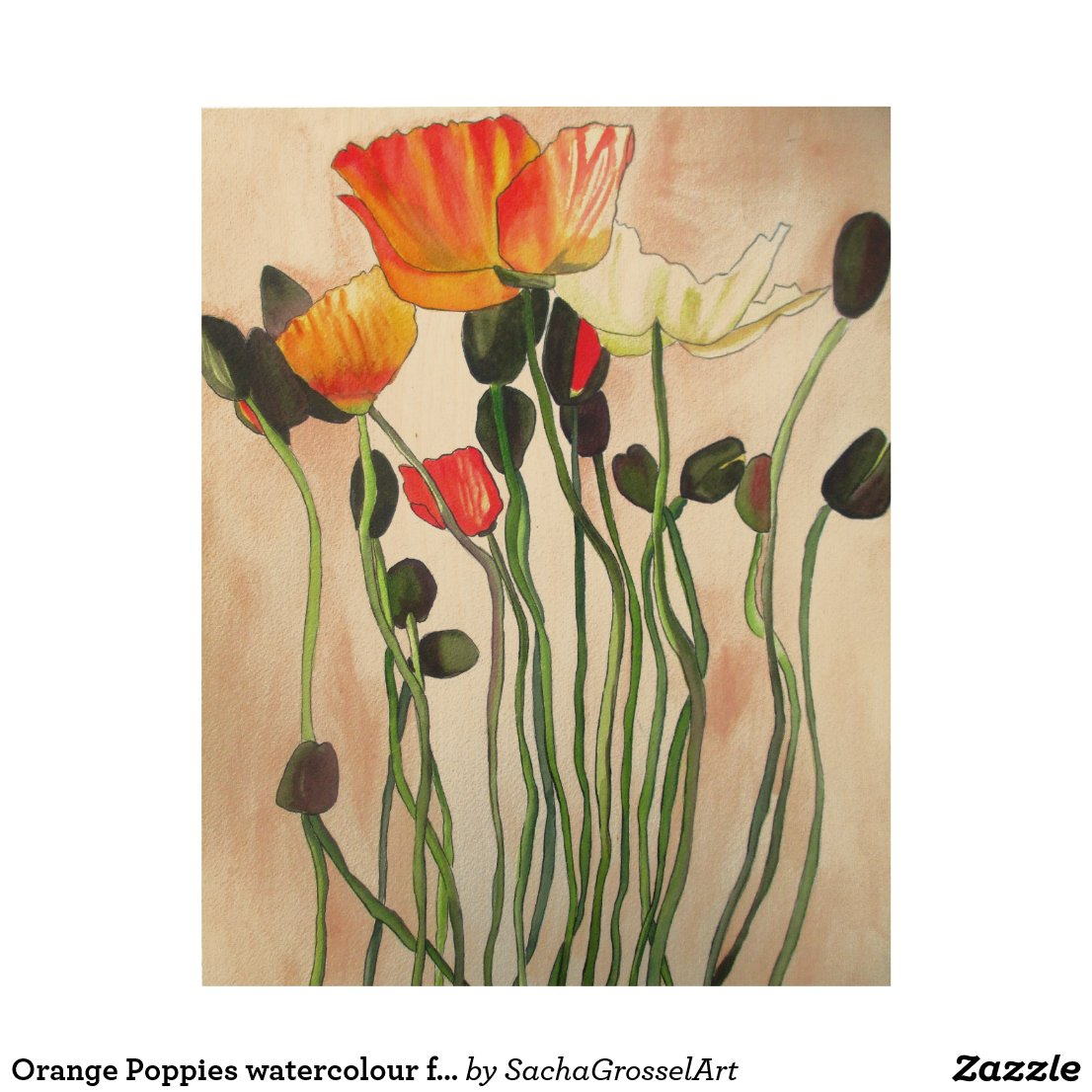 Orange Poppies watercolour flower art