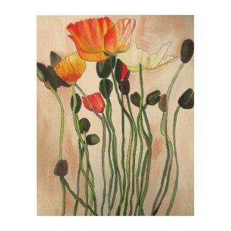 Orange Poppies watercolour flower art
