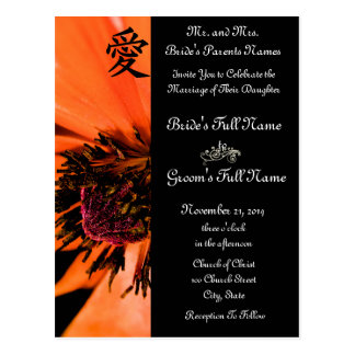 Orange Poppies Wedding Invitations and Favors Postcard