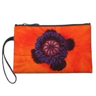 Orange Poppy Clutch Wristlet
