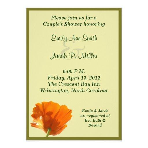 Orange Poppy Couple's Shower Invitations