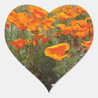 Orange Poppy Field of Flowers Heart Sticker