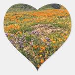 Orange Poppy Fields Heart Sticker