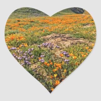 Orange Poppy Fields Heart Sticker