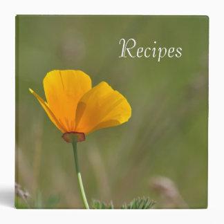 Orange Poppy Floral 3 Ring Binders