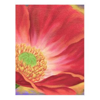 Orange Poppy Flower Painting - Multi Postcard