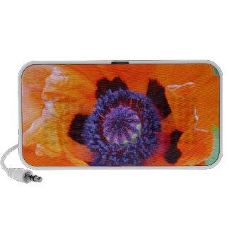 Orange Poppy Flower Portable Speakers
