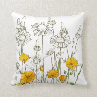 Orange Poppy Flowers Plant Drawing Throw Pillow