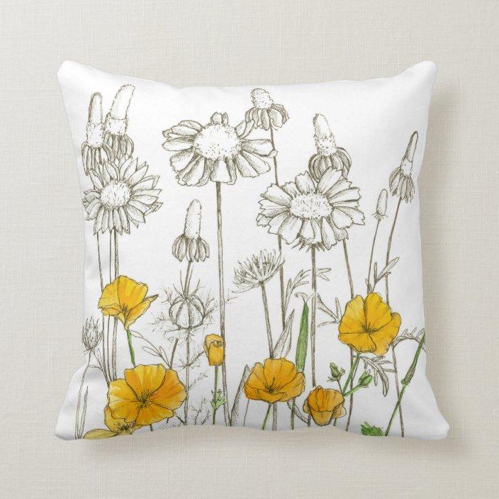 Orange Poppy Flowers Plant Drawing Throw Pillow Zazzle Com