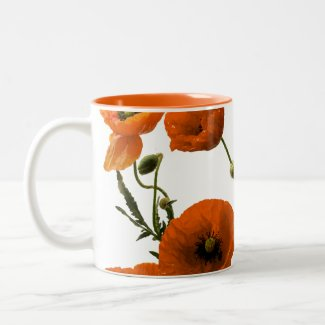 Orange Poppy Flowers Watercolor Floral Gifts Chic Two-Tone Coffee Mug