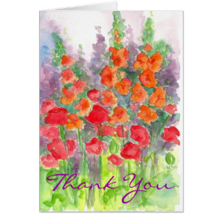 Orange Poppy Gladiola Flower Watercolor Thank You Stationery Note Card